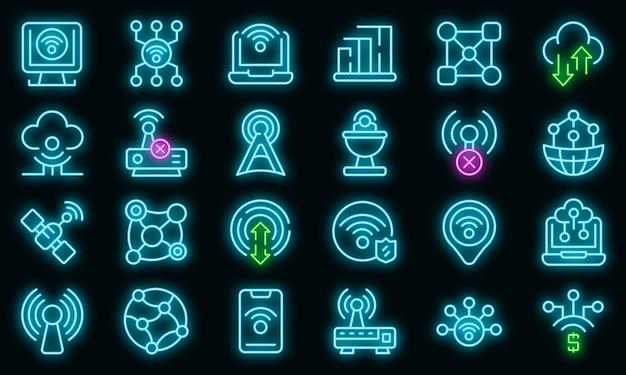 Internetverbinding pictogrammen instellen. overzicht set van internet verbinding vector iconen neon kleur op zwart