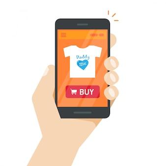Internetwinkel of online winkel op smartphone scherm vector platte cartoon
