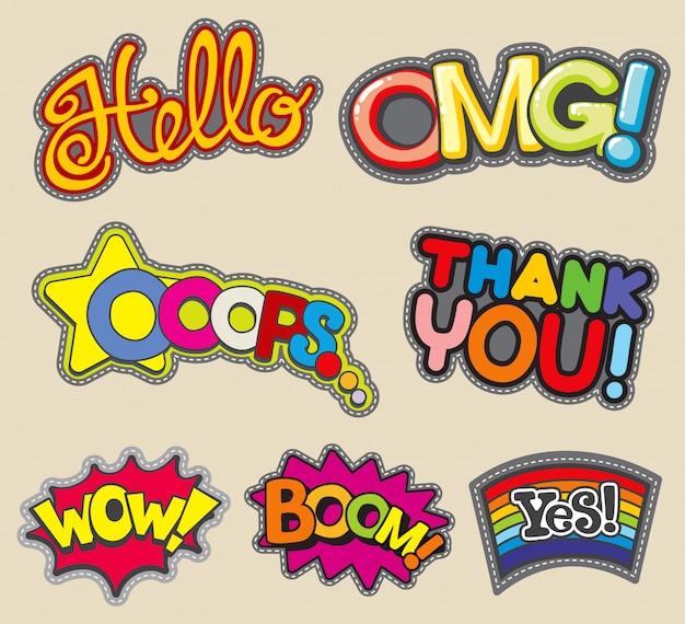 Internetwoorden borduurgestikte badges, mode-stickers bedankt en wow, boem en hallo