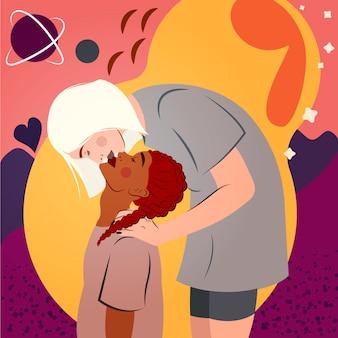 Interraciaal lesbisch koppel. portret van jonge vrouwen kussen. homoseksuele romantische partners. lgbt-gemeenschap en liefdeconcept.