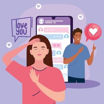 Interraciaal paar virtuele relatie