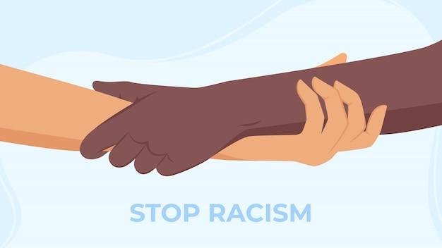 Interraciale handen in moderne handdruk om vriendschap en solidariteit te tonen