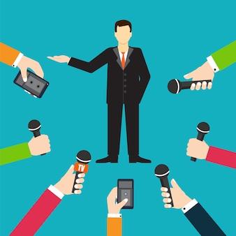 Interview een zakenman of een politicus die vragen vectorillustratie beantwoordt - voorraadvector