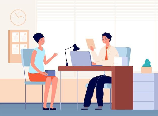 Interview met baas. baanbezetting, vrouwelijke communicatie op kantoor met zakenman of hr-manager. werving werknemer vectorillustratie. zakelijke hr-kandidaat, wervingsbureau, inhurende vrouw