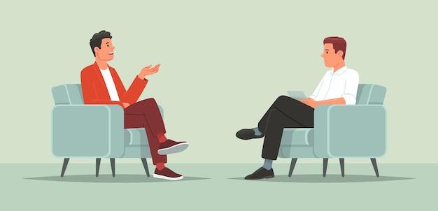 Interview met een beroemd persoon televisie- of internetuitzending een journalist praat met een beroemdheid