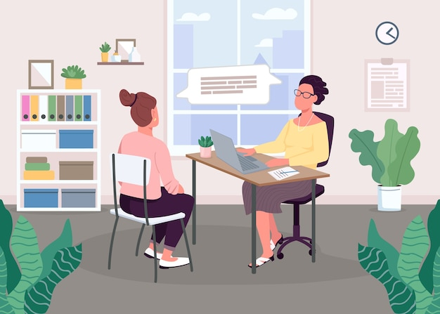Interview sessie egale kleur. vermanend gesprek. sollicitatiegesprek met kandidaat. vacature op kantoor. 2d gezichtsloze stripfiguren met studie-interieur op de achtergrond