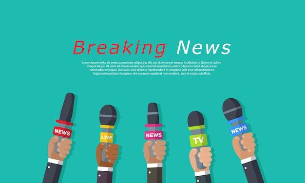 Interviews zijn journalisten van nieuwskanalen en radiostations. microfoons in handen van een verslaggever. persconferentie idee, interviews, laatste nieuws. opname met camera. illustratie,
