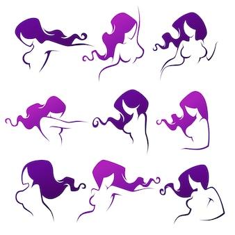 Intieme hygiëne en vrouwelijke schoonheid, dame vormt collectie voor uw logo