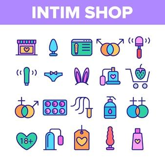 Intim shop elementen icons set