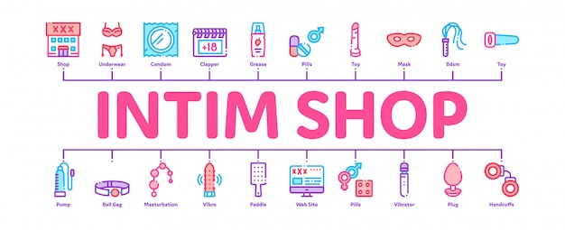 Intim shop seksspeeltjes minimal infographic banner