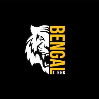 Intimiderend tijger vooraanzicht thema logo sjabloon
