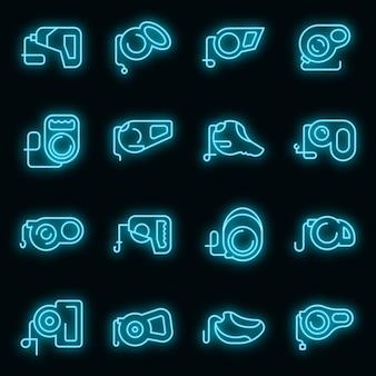 Intrekbare hondenriem pictogrammen instellen. overzicht set van intrekbare hondenriem vector iconen neon kleur op zwart