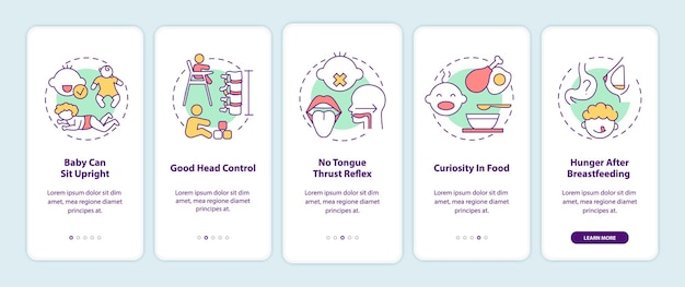 Introductie van babyvoedingsvereisten voor het onboarding van het mobiele app-paginascherm met concepten