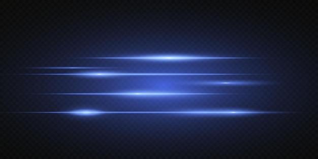 Introductie van de effecten van neonlichtsets. gloeiende blauwe abstracte lijn. geschikt voor transparant lensflare-effect. helder licht