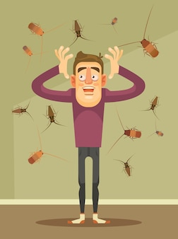 Invasie van kakkerlakken. bang man karakter. cartoon illustratie