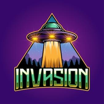 Invasion esport mascotte logo ontwerp
