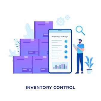 Inventaris controle illustratie concept. illustratie voor websites, landingspagina's, mobiele applicaties, posters en banners