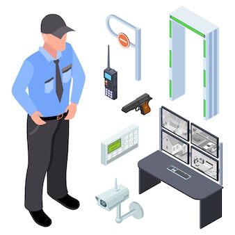 Inventaris van politie, beveiliging, checkpoint isometrisch