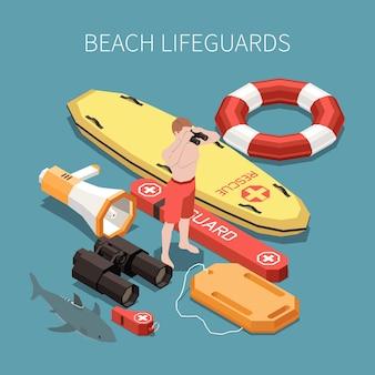 Inventaris van strandbadmeester isometrische samenstelling met surfplank luidspreker verrekijker fluitje 3d illustratie