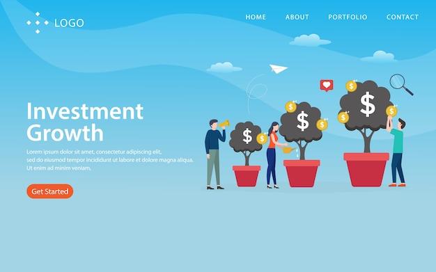 Invesment-groei, websitemalplaatje, gelaagd, gemakkelijk te bewerken en aan te passen, illustratie concept