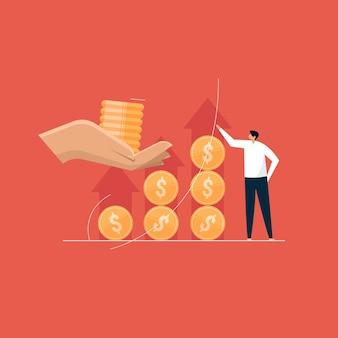 Investeer meer om meer te verdienen, financier het stijgende en langetermijninvesteringsconcept