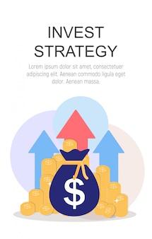 Investeer strategieconcept vlakke achtergrond. illustratie