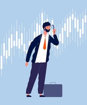 Investeerder karakter. zakenman weergave door vergrootglas op grafische groei geld investeringen vector financiën concept. succesgroei professionele investering, succesvolle zakenman illustratie