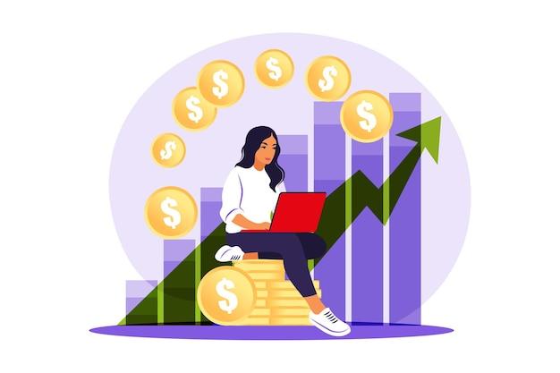 Investeerdersvrouw met laptop die de groei van dividenden controleert.