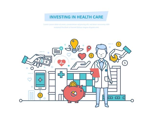 Investeren in gezondheidszorg en moderne geneeskunde dunne lijn.