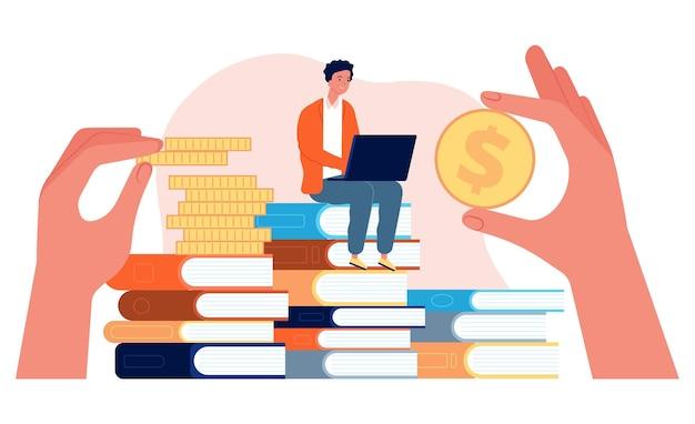 Investeren in onderwijs. student met laptop zit op stapel boeken. handen met munten vectorillustratie. investeren in kennis, studiefinanciering