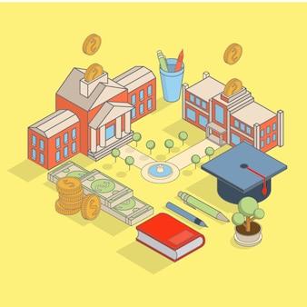 Investering in de vector isometrische illustratie van het onderwijsconcept met de schoolbouw,