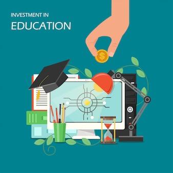 Investering in de vlakke illustratie van het onderwijsconcept