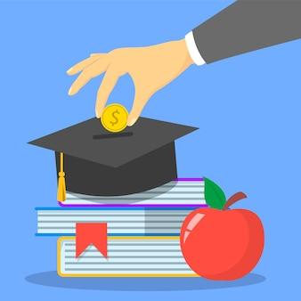 Investering in de webbanner van het onderwijsconcept. besparingen voor studie