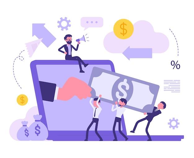 Investering in een startup. mensen uit het bedrijfsleven investeren geld voor winst en steken kapitaal in een nieuw project om winstgevende opbrengsten te behalen. vector abstracte illustratie met anonieme karakters