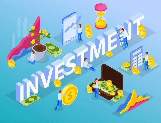Investering isometrische illustratie
