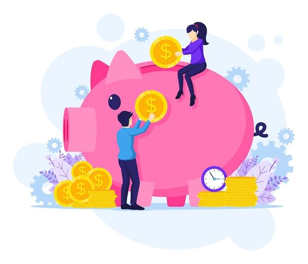 Investeringen concept illustratie, mensen geld steken in een gigantische spaarvarken, geldbesparende platte vectorillustratie