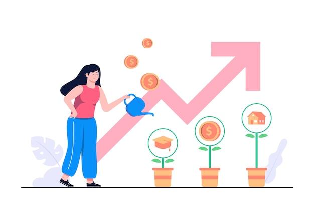 Investeringen concept vlakke afbeelding