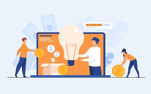 Investeringen en crowdfunding concept