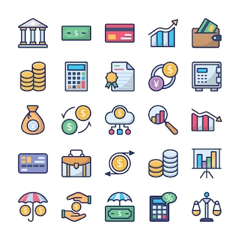 Investeringen en financiën icons pack