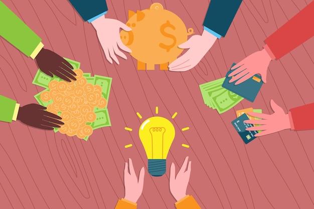 Investeringen en zakelijke teambuilding metafoor. iinvestors bieden investeringen aan voor een nieuw bedrijfsidee. coworking, samenwerking en zakelijk partnerschap concept.