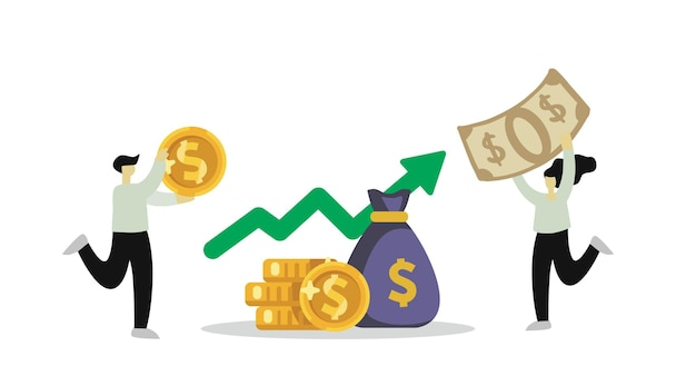 Investeringen financiële zakenmensen die kapitaal vergroten. geld verdienen en besparen concept.