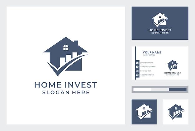 Investeringen huis logo met sjabloon voor visitekaartjes.
