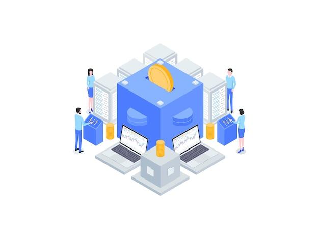 Investeringen isometrische vlakke afbeelding. geschikt voor mobiele app, website, banner, diagrammen, infographics en andere grafische middelen.