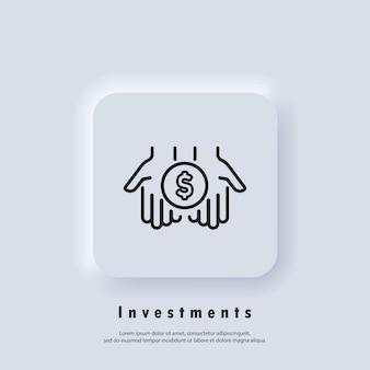 Investeringen pictogram. dollar in palmen dunne lijn icoon. eenvoudige hand met een munt. geld overmaken pictogram. vector. neumorphic ui ux witte gebruikersinterface webknop. neumorfisme