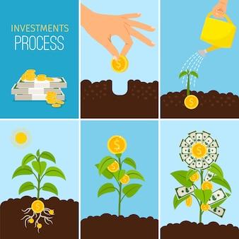 Investeringen proces en financiële bedrijfsgroei concept