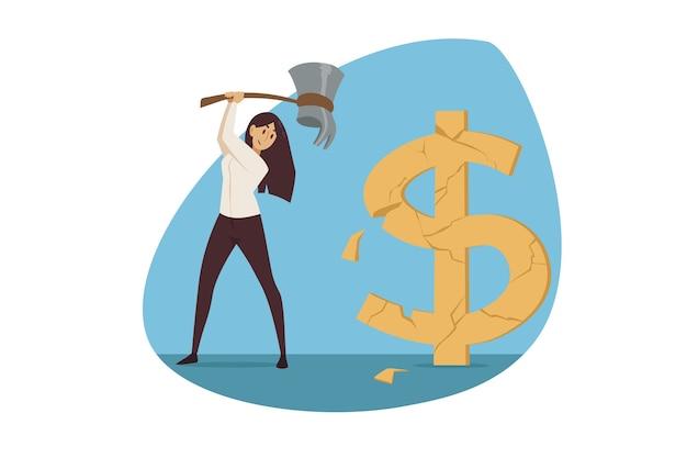 Investeringen, zaken, mijnbouw. zakenvrouw manager werknemer ondernemer houthakker grote gouden dollarteken hakken.