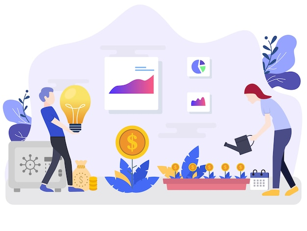 Investerings vectorillustratieconcepten met karakters