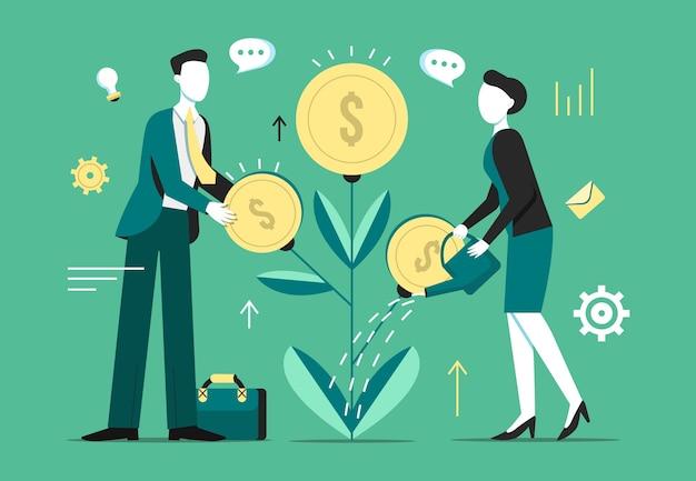 Investeringsboom groei illustratie