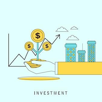 Investeringsconcept: een hand met geld in platte lijnstijl