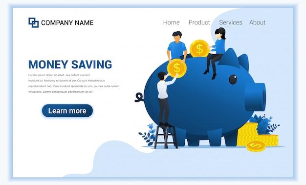 Investeringsconcept met mensen die geld steken in spaarvarken. geld verdienen of besparen.